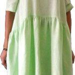salatgrünes Leinenkleid